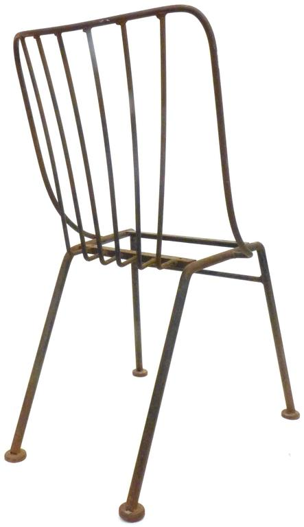Welded Set of Six Mid-Century Wrought Iron Outdoor Chairs For Sale
