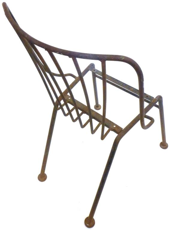 Mid-20th Century Set of Six Mid-Century Wrought Iron Outdoor Chairs For Sale
