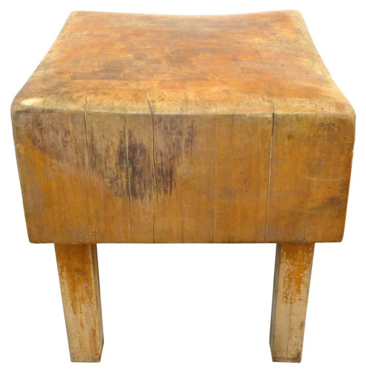 An Incredible Vintage Wood Butcher Block Table Hailing From A Los Angeles
