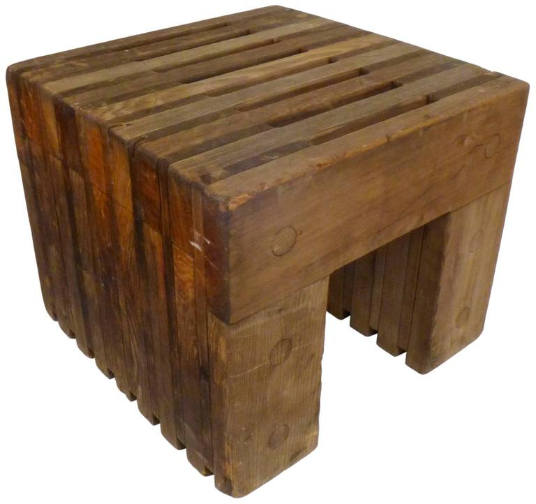 American Architectural Cedar Side Tables For Sale