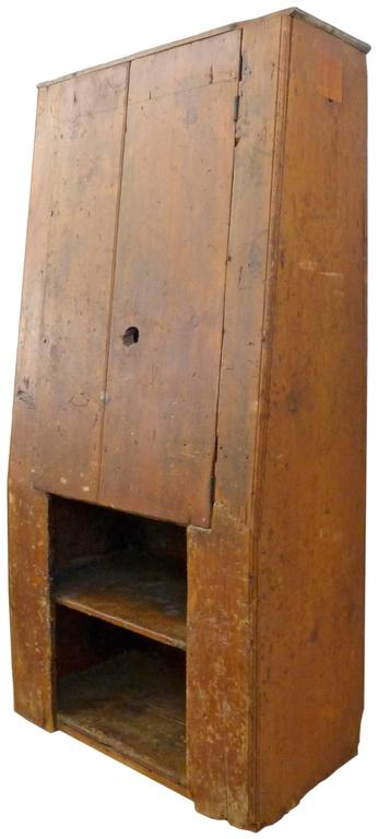 18th Century American Primitive Canted-Front Cabinet 2