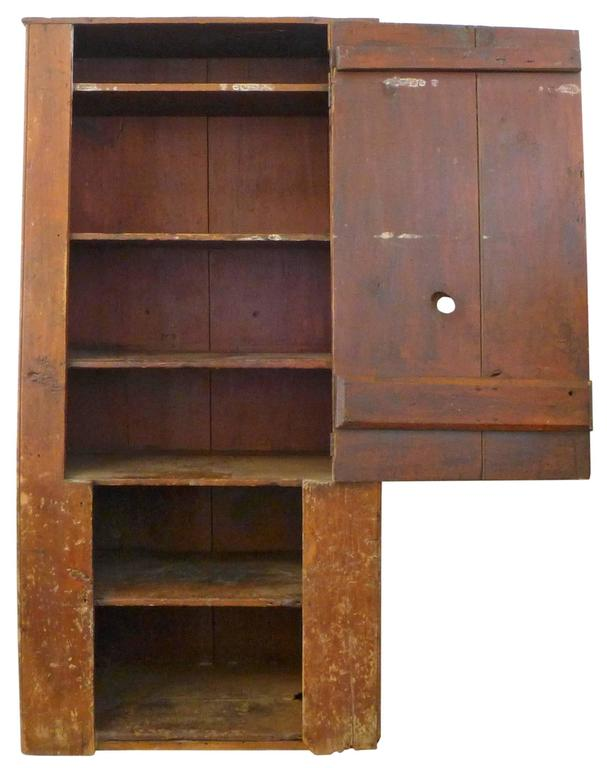 18th Century American Primitive Canted-Front Cabinet 3
