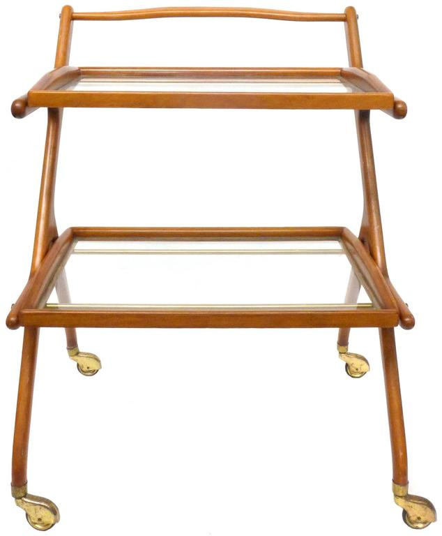 Italian Walnut Bar Cart by Cesare Lacca 2