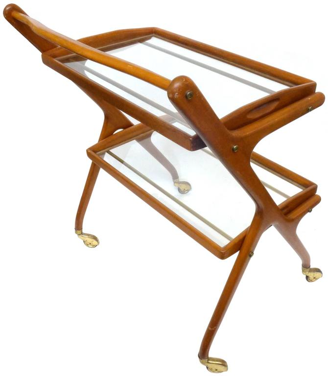 Italian Walnut Bar Cart by Cesare Lacca 3