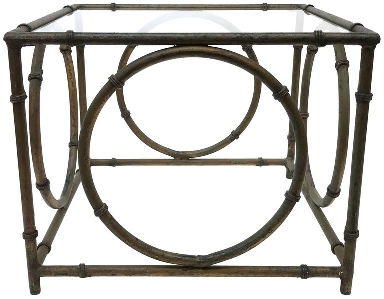 Cut Glass Pair of Italian Wrought Iron and Glass Side Tables For Sale