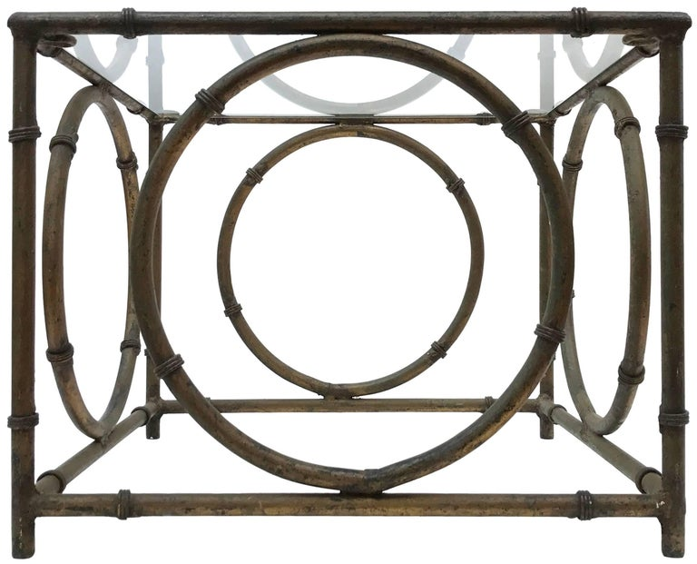Pair of Italian Wrought Iron and Glass Side Tables For Sale 1