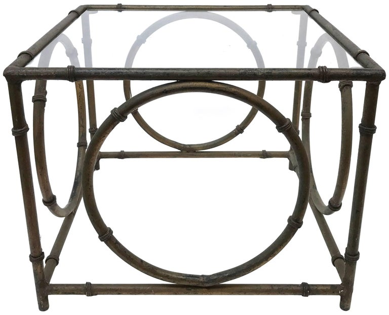 Mid-20th Century Pair of Italian Wrought Iron and Glass Side Tables For Sale