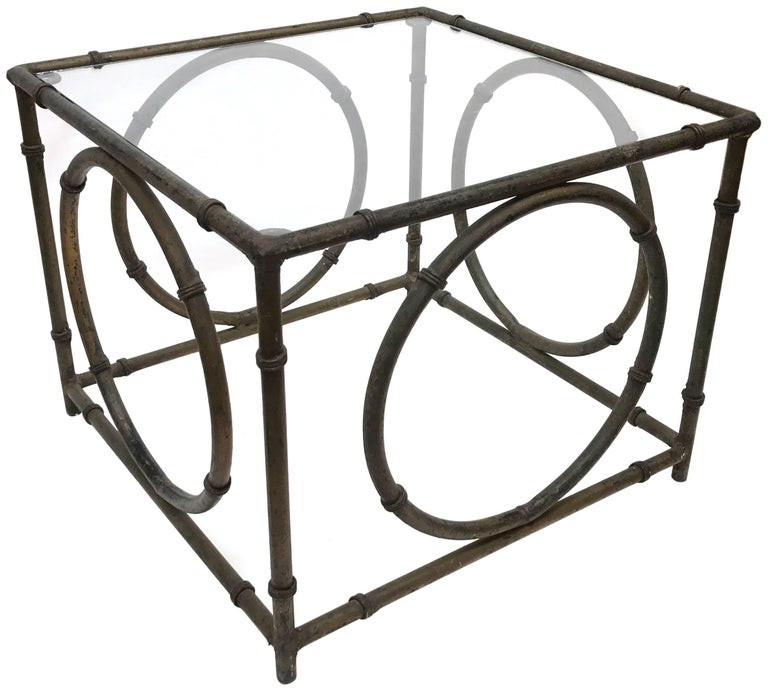 Pair of Italian Wrought Iron and Glass Side Tables In Good Condition For Sale In Los Angeles, CA