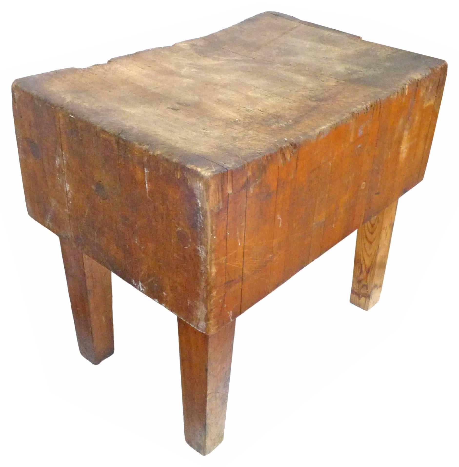 An Incredible, Vintage, Wood Butcher Block Table. A Fantastic Piece,  Beautifully