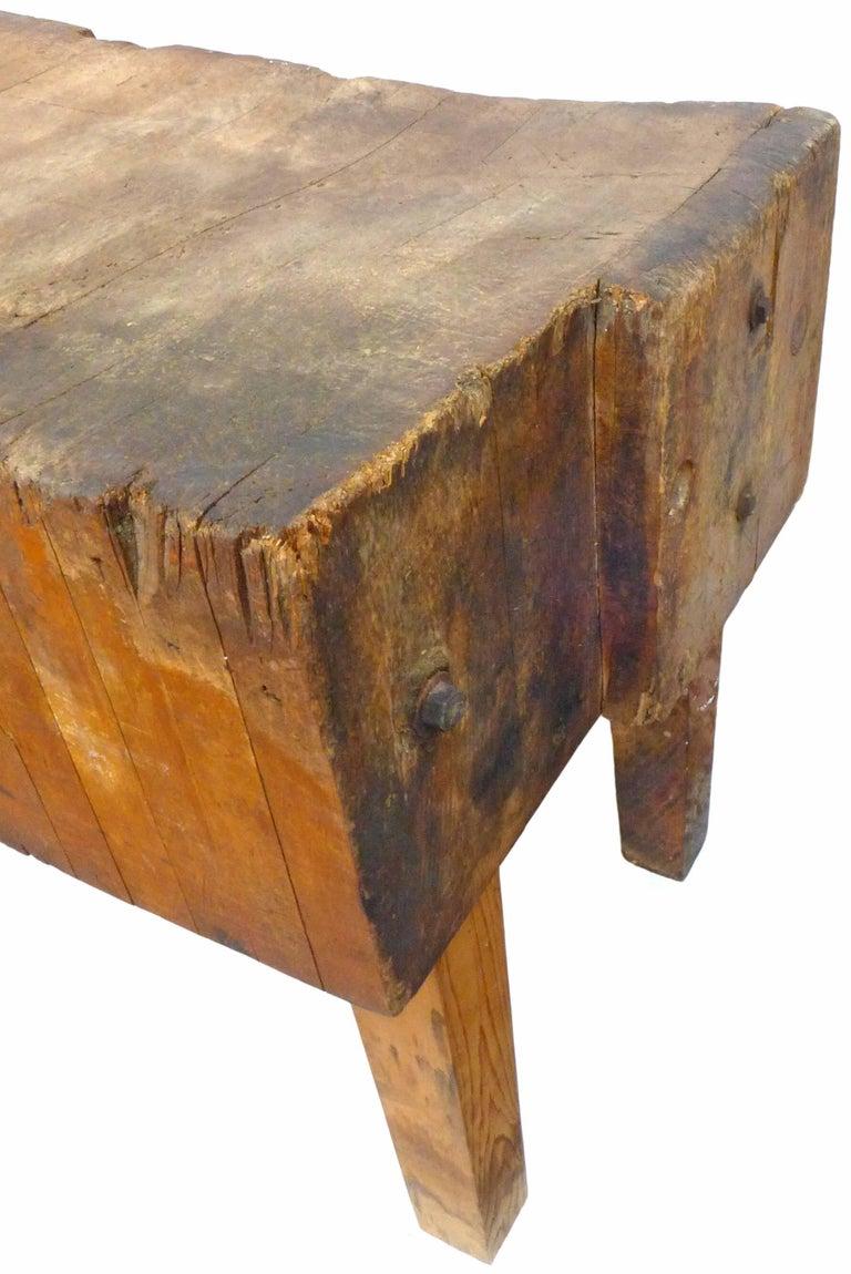 Industrial Vintage Wood Butcher Block Table