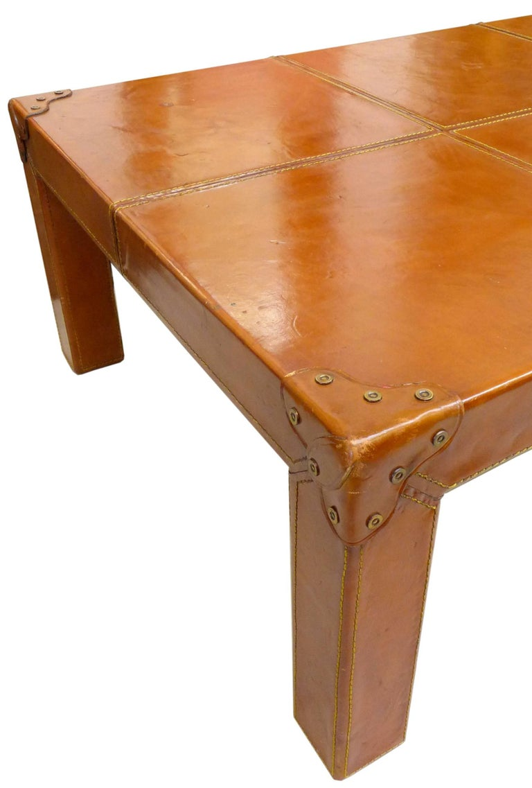 Stitched-Leather Clad Coffee Table 4