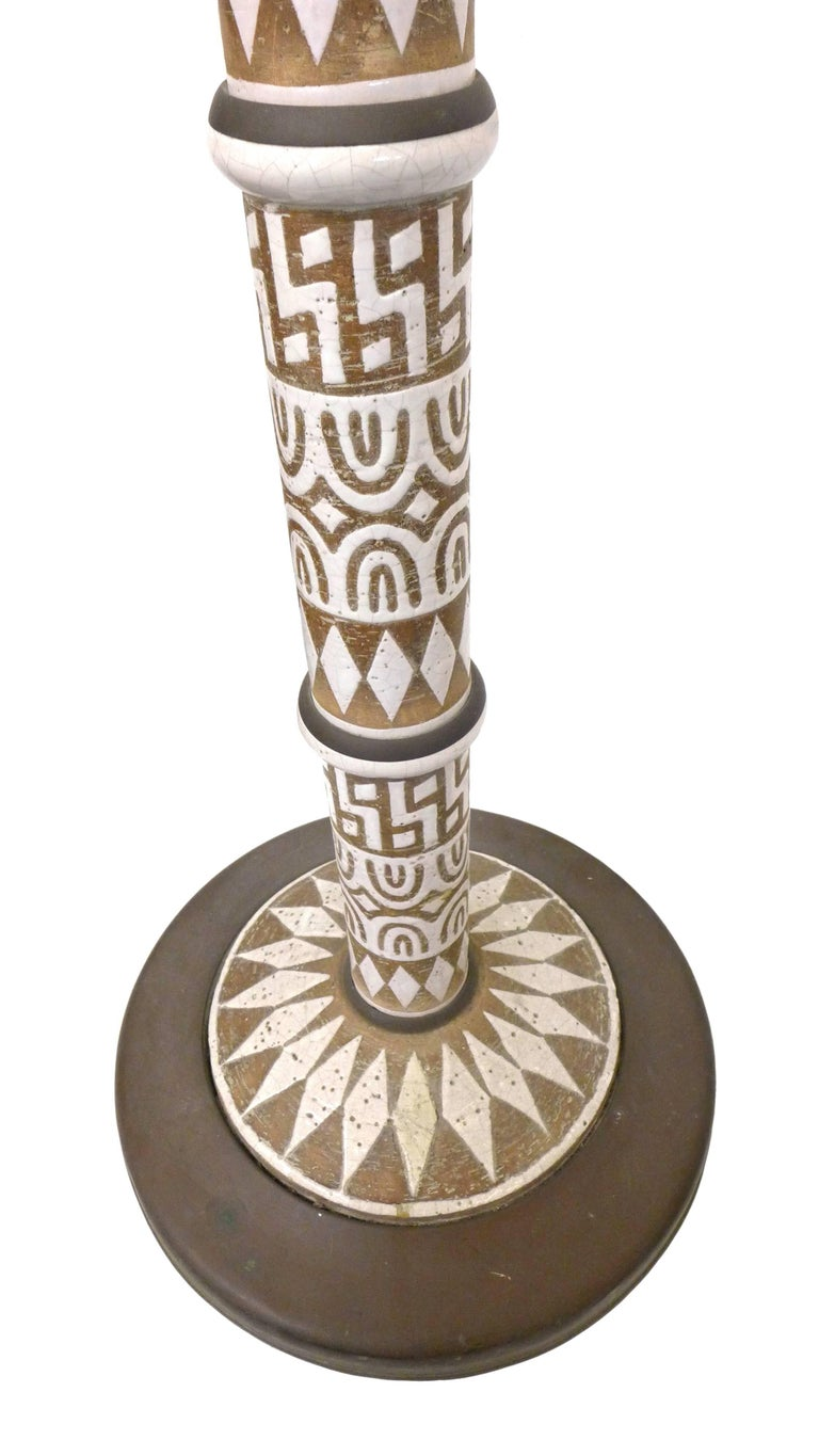 Italian Glazed Ceramic and Brass Torchiere Floor Lamp 3