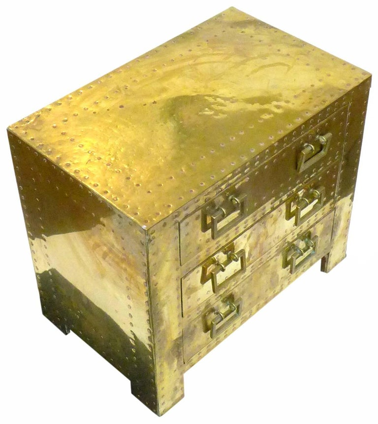 Pair of Brass Clad Chests or Side Tables by Sarried 2