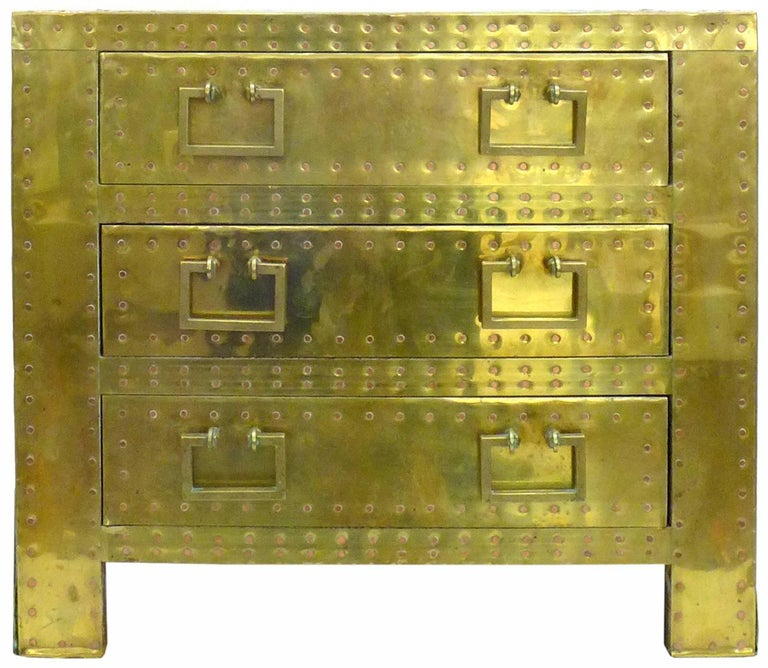 Pair of Brass Clad Chests or Side Tables by Sarried 4