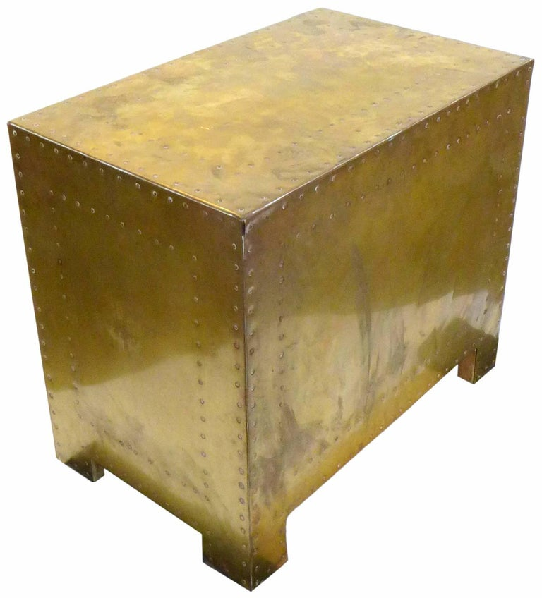 Pair of Brass Clad Chests or Side Tables by Sarried 6
