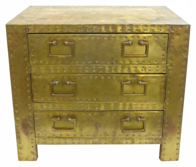 Pair of Brass Clad Chests or Side Tables by Sarried 5