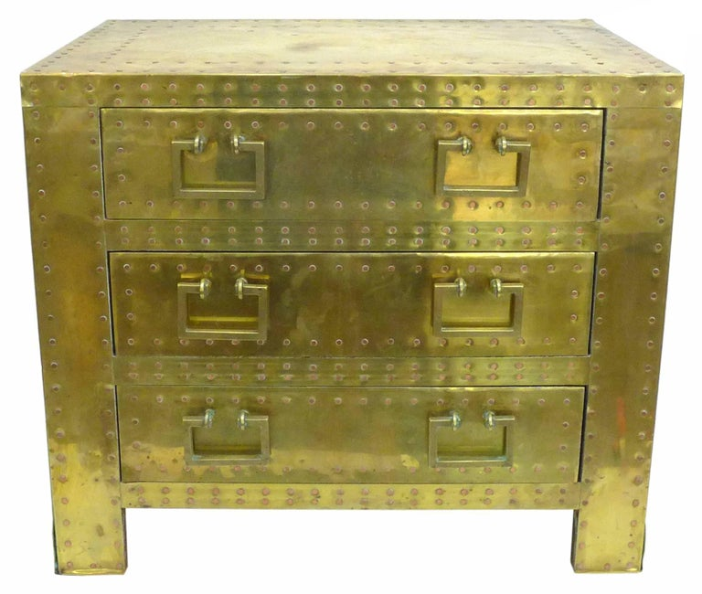 Pair of Brass Clad Chests or Side Tables by Sarried 7