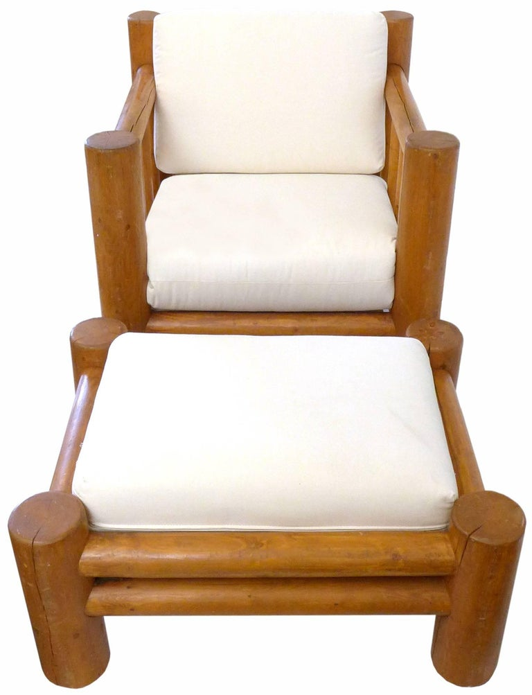 American Lodgepole Armchair and Ottoman For Sale