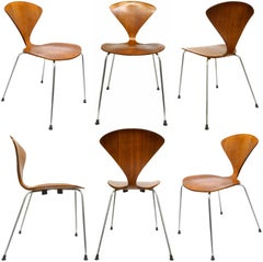 "Set of Six Vintage ""Cherner Chairs"" by Norman Cherner for Plycraft"