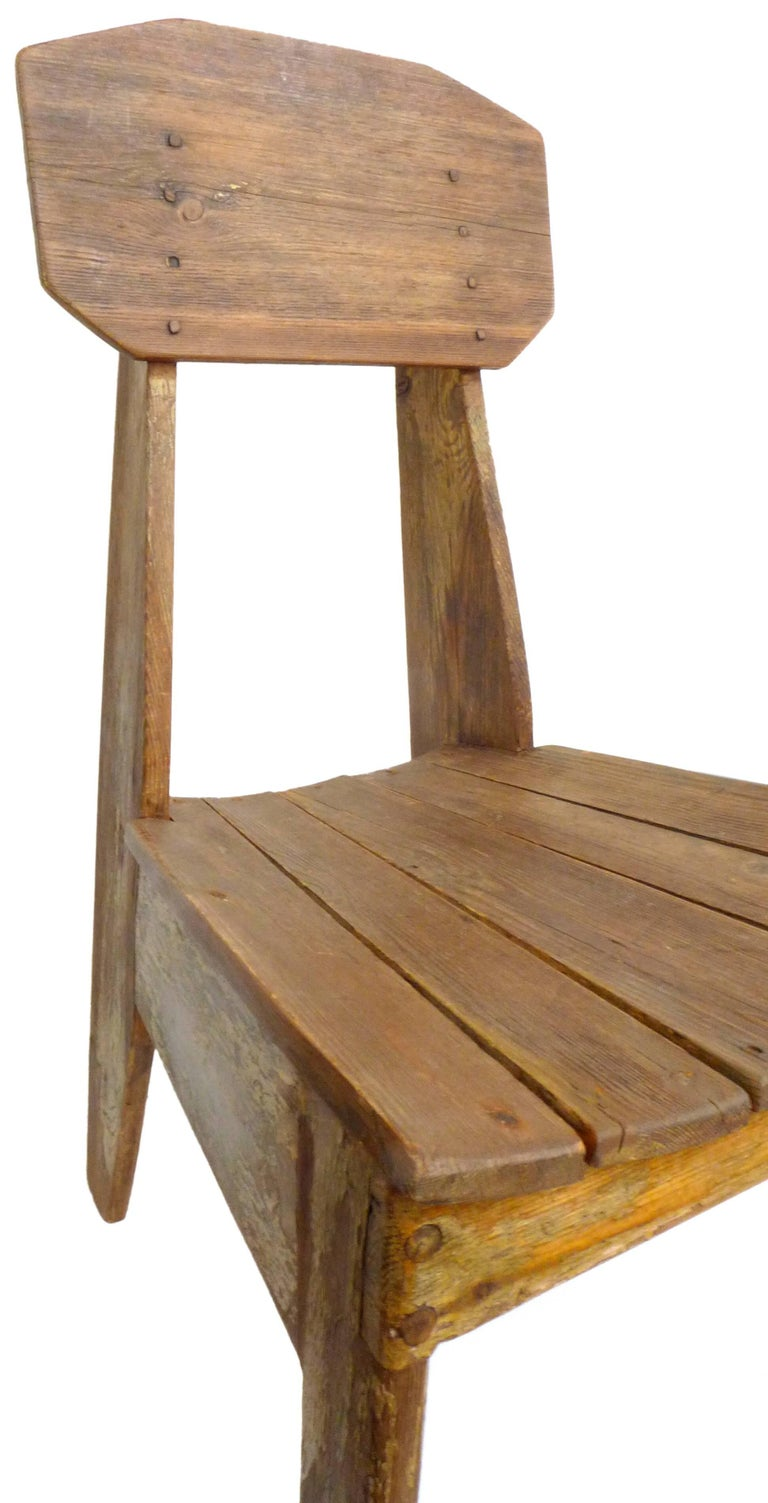 Mid-20th Century Modernist Slatted-Wood Side Chair For Sale