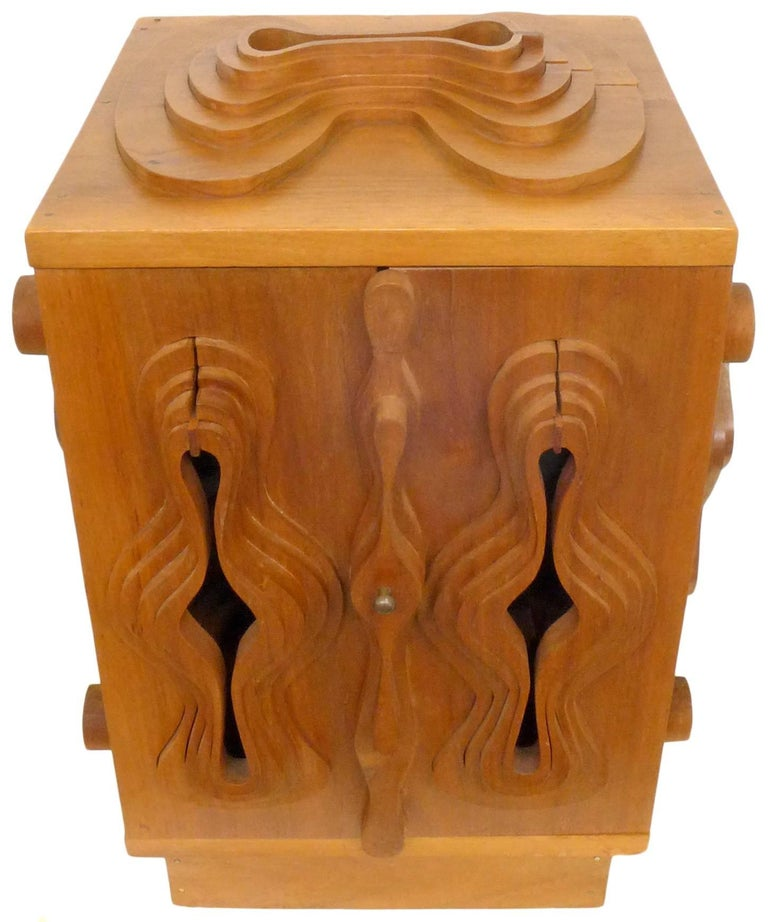 A wonderful and unusual sculpture cabinet by designer John Risley. Known for his furniture designs, Risley's talents veer into fine art as well, of which this cabinet is certainly an unusual example. A beautifully crafted cabinet with stepped,