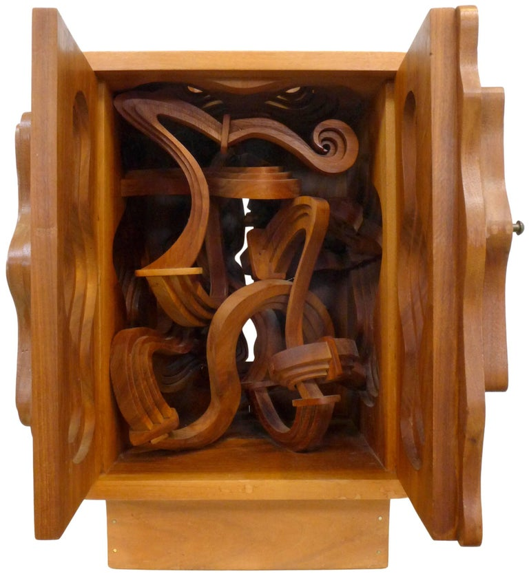 Wood Sculpture Cabinet by John Risley For Sale 1