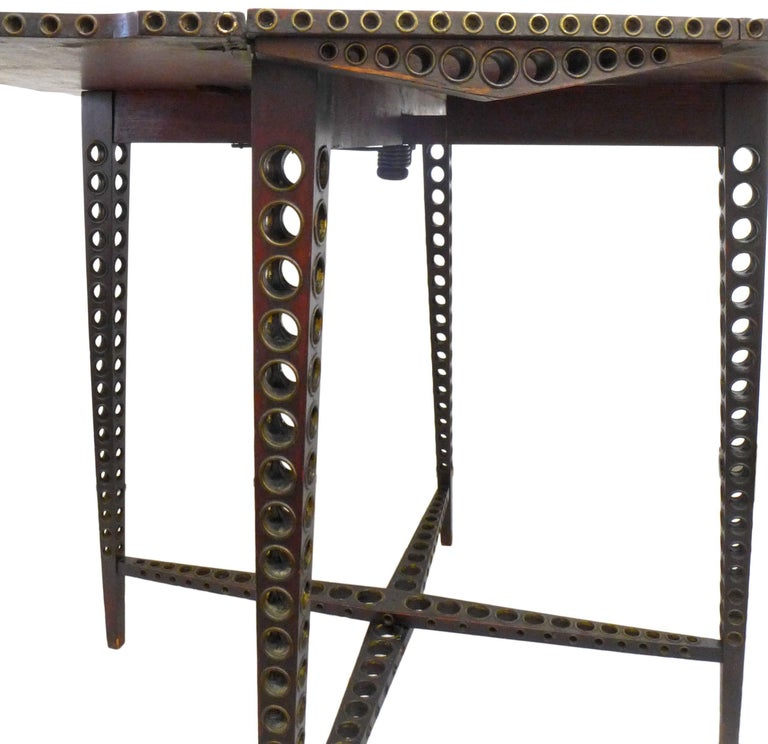 Early 20th Century Drop-Leaf Wood and Brass-Grommet Table For Sale 1