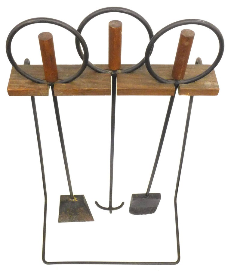 American Set of Mid-Century Modern Wood and Iron Fire Tools For Sale