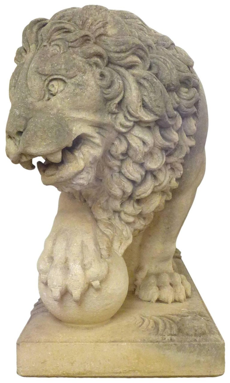 Pair of Italian Life-Sized Carved Limestone Lion Statues For Sale 2