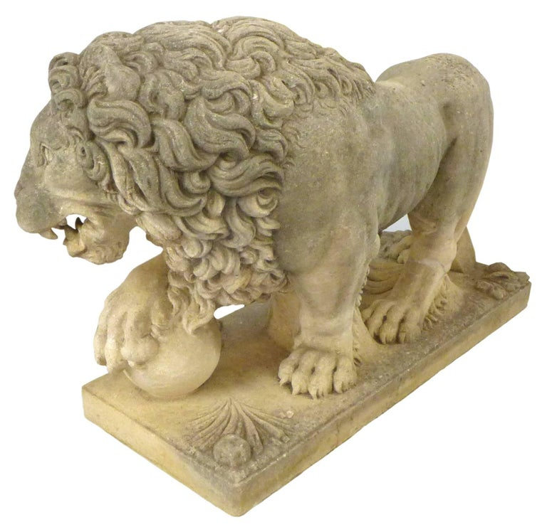 Mid-20th Century Pair of Italian Life-Sized Carved Limestone Lion Statues For Sale