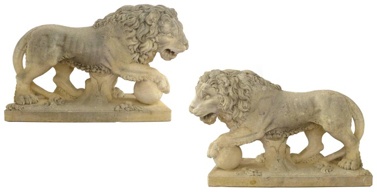 Neoclassical Pair of Italian Life-Sized Carved Limestone Lion Statues For Sale