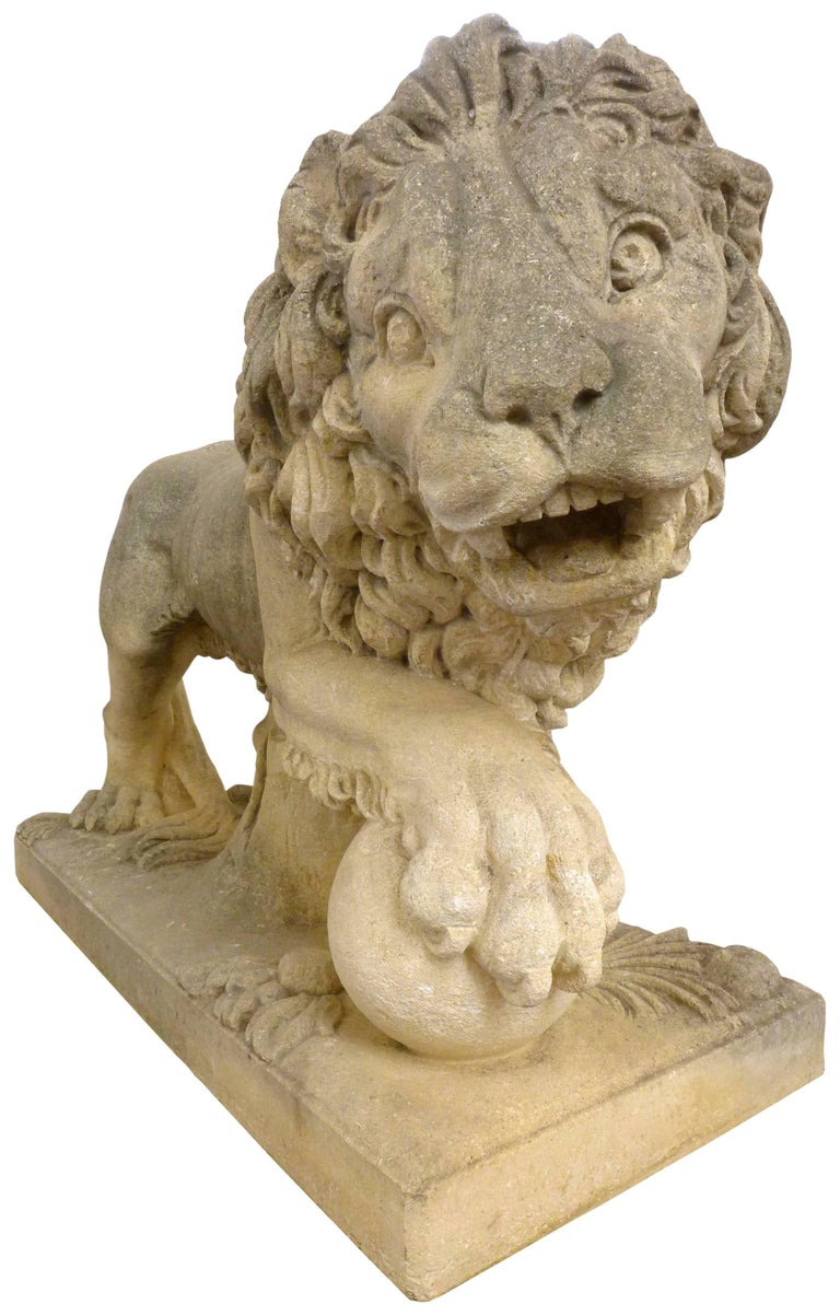Hand-Carved Pair of Italian Life-Sized Carved Limestone Lion Statues For Sale