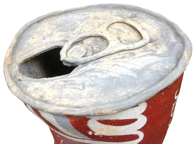 American Huge Handmade Ceramic Coca Cola Can Sculpture For Sale