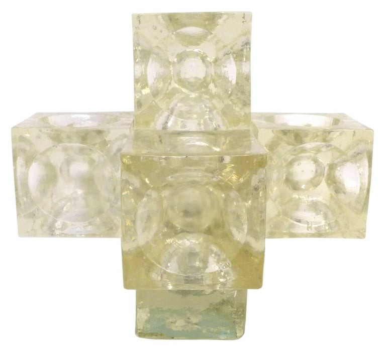 Pair of Cast Glass Cube Table Lamps In Good Condition For Sale In Los Angeles, CA
