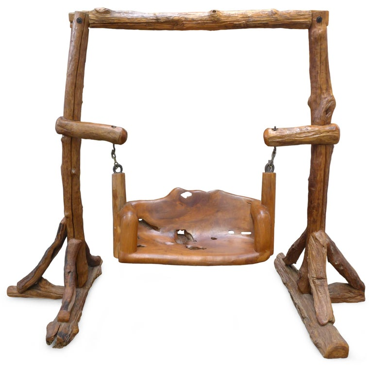 Organic Carved and Assembled Wood Swing For Sale