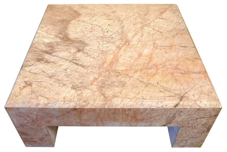 Italian Massive Rose Marble Coffee Table For Sale