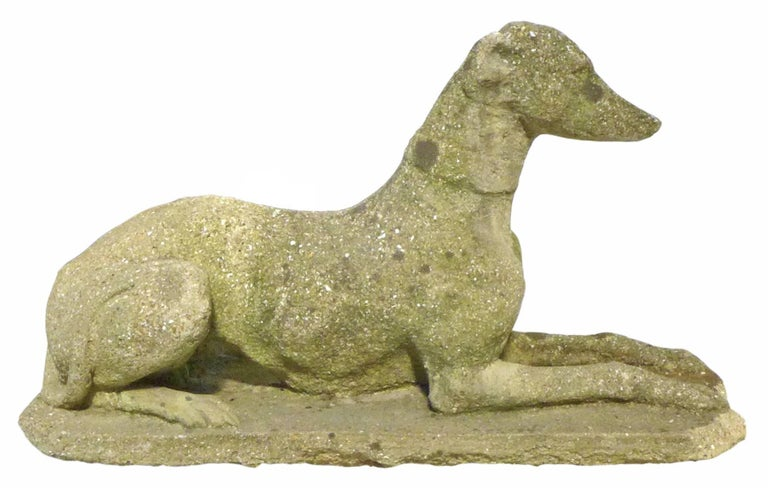 Pair of Cast Concrete Greyhound or Whippet Statues In Distressed Condition For Sale In Los Angeles, CA