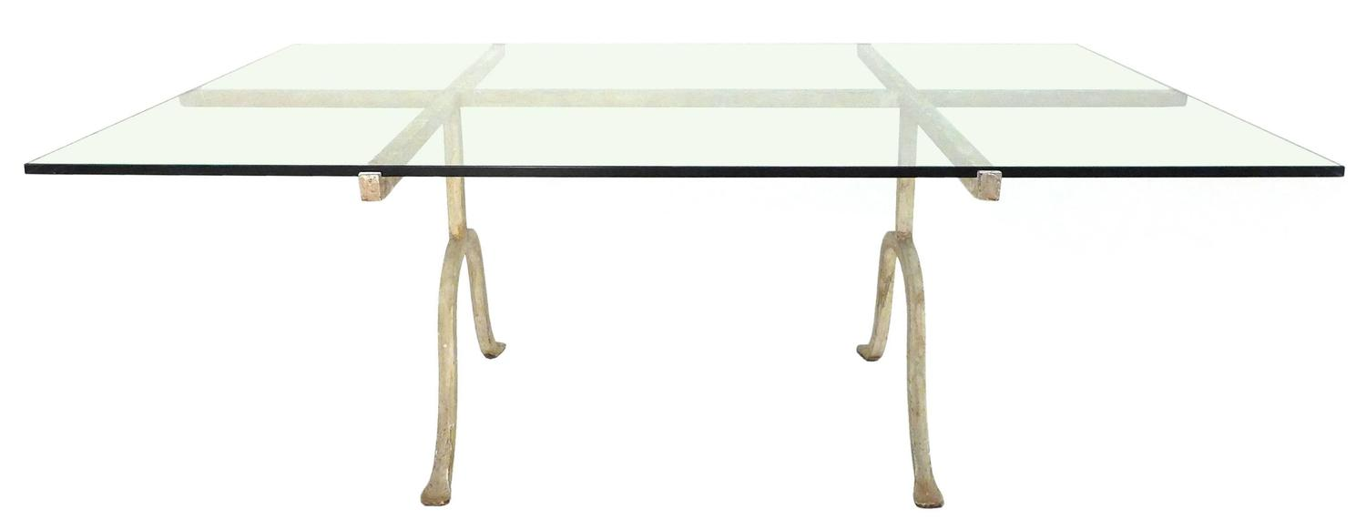 Wrought iron and glass coffee table at 1stdibs for Glass top coffee table with wrought iron legs