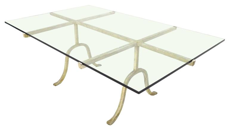 Wrought iron and glass coffee table at 1stdibs for Oval wrought iron coffee table with glass top