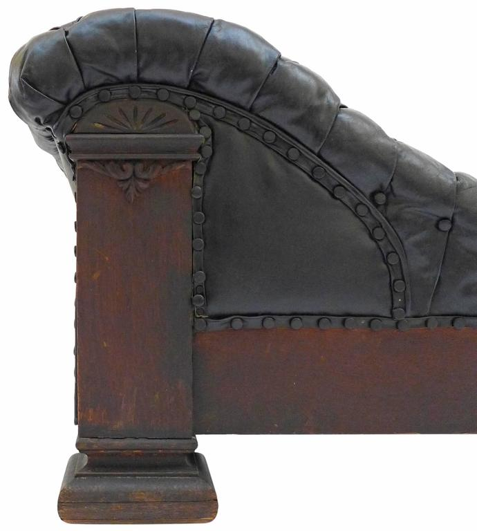 Tufted leather and oak freud chaise longue for sale at for Brown leather chaise longue