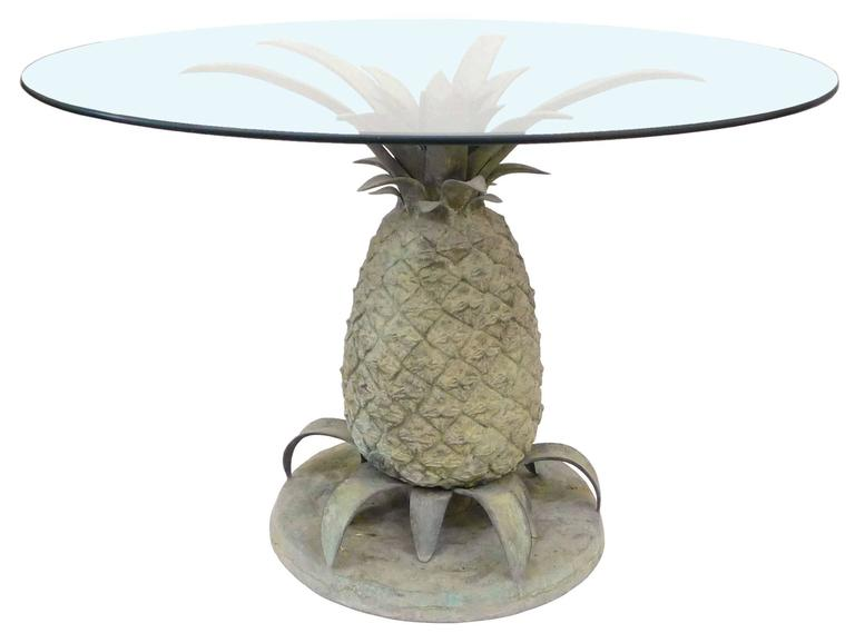Cast Bronze And Glass Pineapple Table At 1stdibs