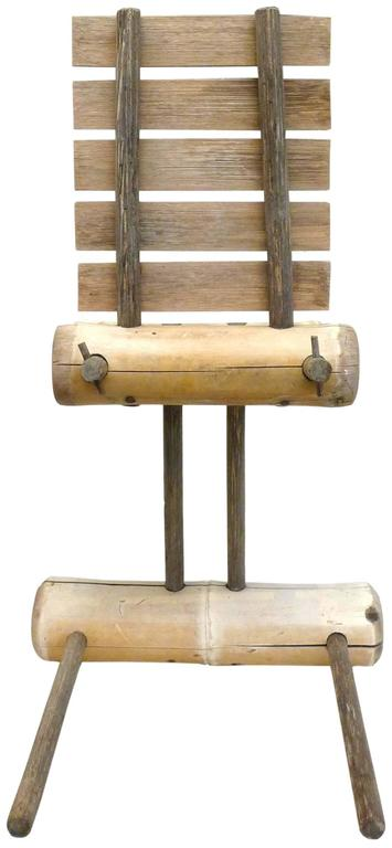 Primitive Japanese Bamboo Chair For Sale 1