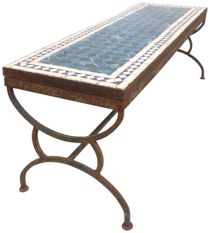 Mosaic Tile and Iron Garden Table 2