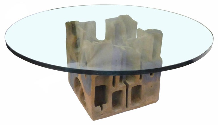 An incredible, hand-built stoneware and glass coffee table by George Greenamyer for Vladimir Kagan. A striking, architecturally-sculptural, partially-glazed, Brutalist cube base holding a round glass top. Wonderful surface and patina from age. Four