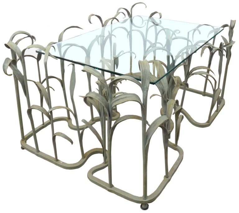 Wrought Iron And Glass Tall Grass Coffee Table For Sale At 1stdibs