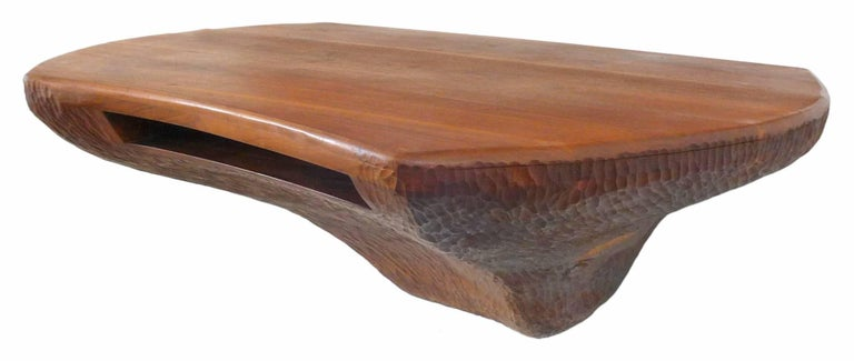Fantastic Chip-Carved American Craft Wall-Mount Wood Console 3