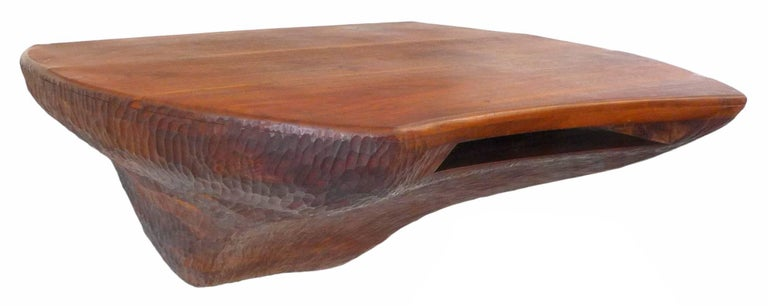 Mid-20th Century Fantastic Chip-Carved American Craft Wall-Mount Wood Console For Sale