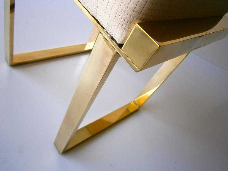 "Brass Plated ""Boxline"" Vanity Stool by Charles Hollis Jones, circa 1970s 7"
