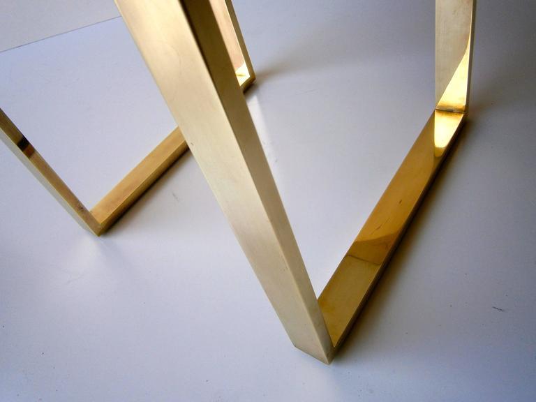 "Brass Plated ""Boxline"" Vanity Stool by Charles Hollis Jones, circa 1970s 8"