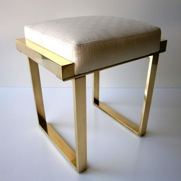 "Brass Plated ""Boxline"" Vanity Stool by Charles Hollis Jones, circa 1970s 4"